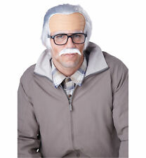 Rude Grandpa Old Man Bald Baldy Grey Professor Men Costume Wig & Moustache