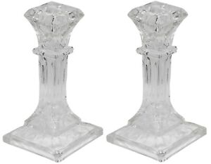 16cm Tall Square Glass Candlesticks Set of 2 Pillar Shaped Design Candle Stick