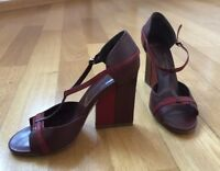 Bally High Heels Sandals Red Leather shoes Size US 8,5 EU 39 UK 6