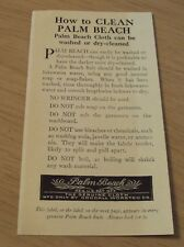 "RARE VTG 1930's ADVERTISING Brochure~""PALM BEACH Suits"" How to Clean~MAINE~"