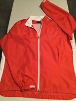 Women's Vintage Nike Full Zip Windbreaker Jacket Coral/White Size L (12-14)