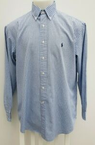 "Men's Ralph Lauren White Blue Check Yarmouth Smart Casual Shirt Size 17"" UK XL"