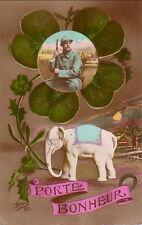 ELEPHANT BLANC - PORTE BONHEUR - CARTE POSTALE GUERRE DE 1914-18.