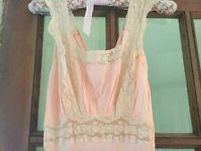 Vintage Peignoir Negligee Nightie Pink Nylon Lace Trim Empire Waist Plunge Back
