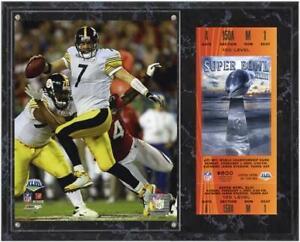Pittsburgh Steelers SB XLIII Ben Roethlisberger Plaque w/ Replica Ticket