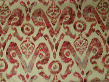 "WESLEY BARRELL CURTAIN/UPHOLSTERY FABRIC ""Holika"" 4.8 METRES TERRACOTTA IKAT"