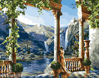 """16X20"""" DIY Paint By Number Kit Oil Painting On Canvas Palace By Mountain Scenery"""