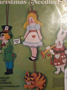 Vtg Bucilla Christmas Alice in Wonderland Jeweled Ornaments Kit 3389 MCM 1976