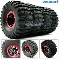 4pcs RC Inflatable Tires & 2.2 Beadlock Wheel & Air Pump Fit 1/10 RC 4WD Crawler