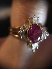 Ruby Diamond Ring 14k Yellow Gold Ring 0.98 CTS. Ruby 0.90 CTS. Diamond Size 6