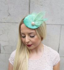 Mint Green Rose Gold White Feather Pillbox Hat Fascinator Hair Clip Vintage 2612