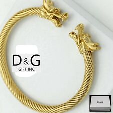 DG Men's Stainless Steel.Gold,Double Dragon Adjustable Cuff Cable Bracelet*Box