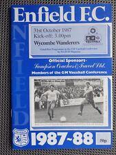 Wycombe Wanderers 1987 Enfield F.C. V programa de fútbol