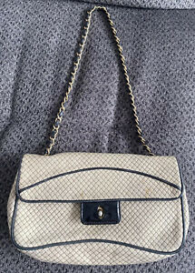 Vintage Chanel Small Cream Quilted Flap Bag Black Patent Leather *Damaged AS IS*