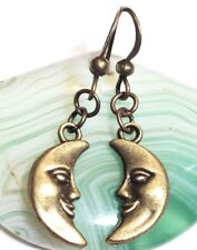 CRESCENT MOON_Bronze Charm Earrings_Full Night Sky Star Face Galaxy Wiccan_14E