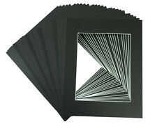 Set of 50 8x10 BLACK Mats with White Core Bevel Cut for 5x7  +Backing +Bags