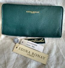 EDINA RONAY LONDON WOMENS TEAL GREEN LEATHER PURSE WALLET - NEW WITH TAGS