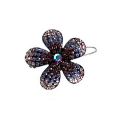 Hand Made Hair Jewelry Ombre swarovski crystal Flower Barrette, Puple Rhinestone