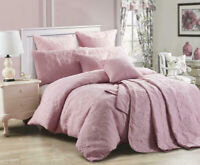 Marguerite Quilted Quilt Cover or Coverlet Set by Georges Fine Linen Dusty Pink