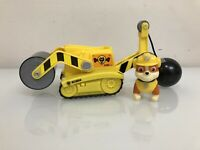 Paw Patrol – Rubble's Steam Roller Construction Vehicle with Rubble Figure -EUC