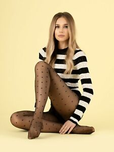 FiORE Egalite Patterned Tights 8 Denier X Pattern or Kisses Sizes S- XL