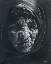 "Painting by Arango Charcoal on Canvas Original Cuban Art 16x13 ""Granny"""