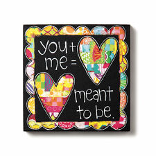 """You and Me Wall Art Canvas 6"""" Picture Demdaco Meant to Be Love Plaque"""
