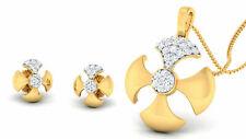 Pave 0,69 Cts Rond Brillante Couper Diamants Pendentif Boucles Set En 585 14K Or