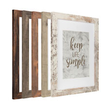 Rustic Wood 11x14 Frame with Glass Mat 8x10 Photo Poster Picture Frames Wall Set