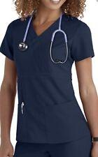 Greys Anatomy Scrub Top Womens Size Medium Mock Wrap 3 Pocket 4153 Indigo Med