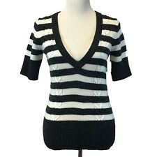 OLD NAVY Sweater Med White Gray Stripe Short Sl Top V Neck Cable Knit Stretch