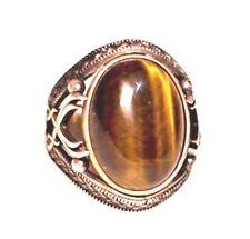 Sterling Silver Men Byzantine ring, tiger-eye natural Stone