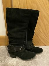 Marks And Spencers Black Suede Knee High Boots Size 4.5 4 1/2 Used