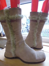 BEIGE TAN SUEDE MID CALF WEDGE HEEL BOOTS SIZE 6 BY FIORE GOOD WORN CONDITION