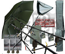 """Deluxe Complete Carp Fishing Set With 2 x Rods Reels Pod Alarms 42"""" Net Tackle"""