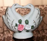 Vintage Kissing Birds Ceramic Porcelain Napkin Holder