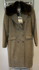 Joules Tweed Glenmere Harkiss Double Breasted Long Coat Fur Collar Size 16 Bnwt