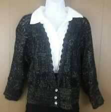 Covington womens size Large black and gold lightweight sweater career metallic