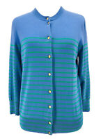 J. Crew Women's Blue Striped Jackie 3/4 Sleeve Cardigan Sweater Size Medium