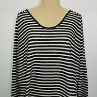 Two By Vince Camuto Women's Top XL Black White w/Sequins 3/4 Sleeve Scoop Neck