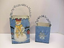 Primitive Winter Snowman Snowflake Metal Box Candle Holder Gift Christmas