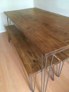 Rustic Handmade Industrial Desk hairpin leg table with natural finish