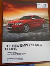 BMW 2 Series Coupe price list brochure Oct 2013