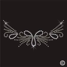 Neckline Rhinestone Diamante Transfer Iron On Hotfix Crystal Motif Applique Gem