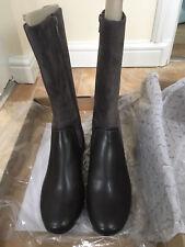 Clarks Women Dark Grey Combi Real Suede Flats Boots, UK6D, Mountain Mist, BNIB