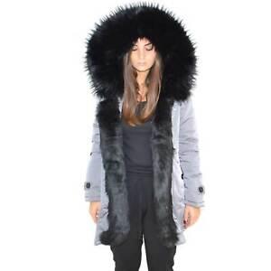Parka impermeabile grigio donna con pelliccia voluminosa ecologica nera glamour
