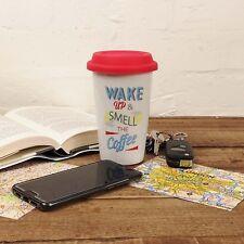 Wake Up Travel Mug Double Wall Reusable Flask Silicone Lid Coffee Tea Takeaway