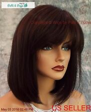 MONOTOP DESIGNER WIG BOB WITH BANGS * DARK BROWN ✮ DEEP FOREST