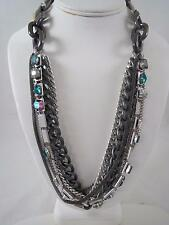 Kenneth Cole silver tone & hematite multichain~peacock bead crystal necklace NWT