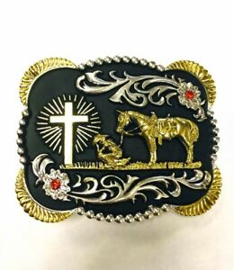 PRAYING COWBOY BELT BUCKLE WESTERN RODEO FASHION HORSE FAITH CROSS RELIGIOUS
